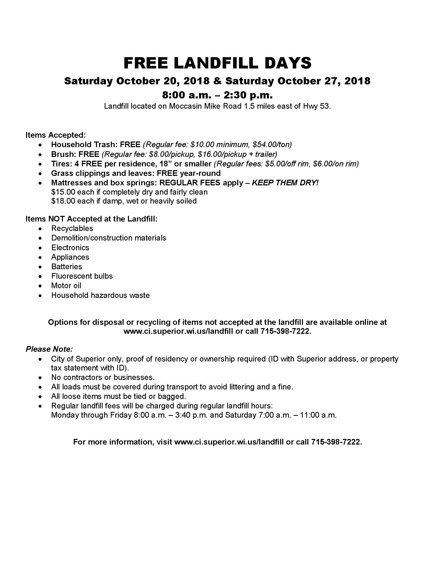 Free Landfill flyer October 2018