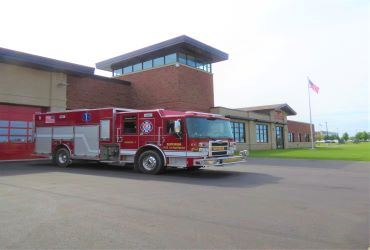 Superior Fire Department fire engine parked in front of headquarters