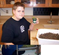 Student holds newly potted seedling