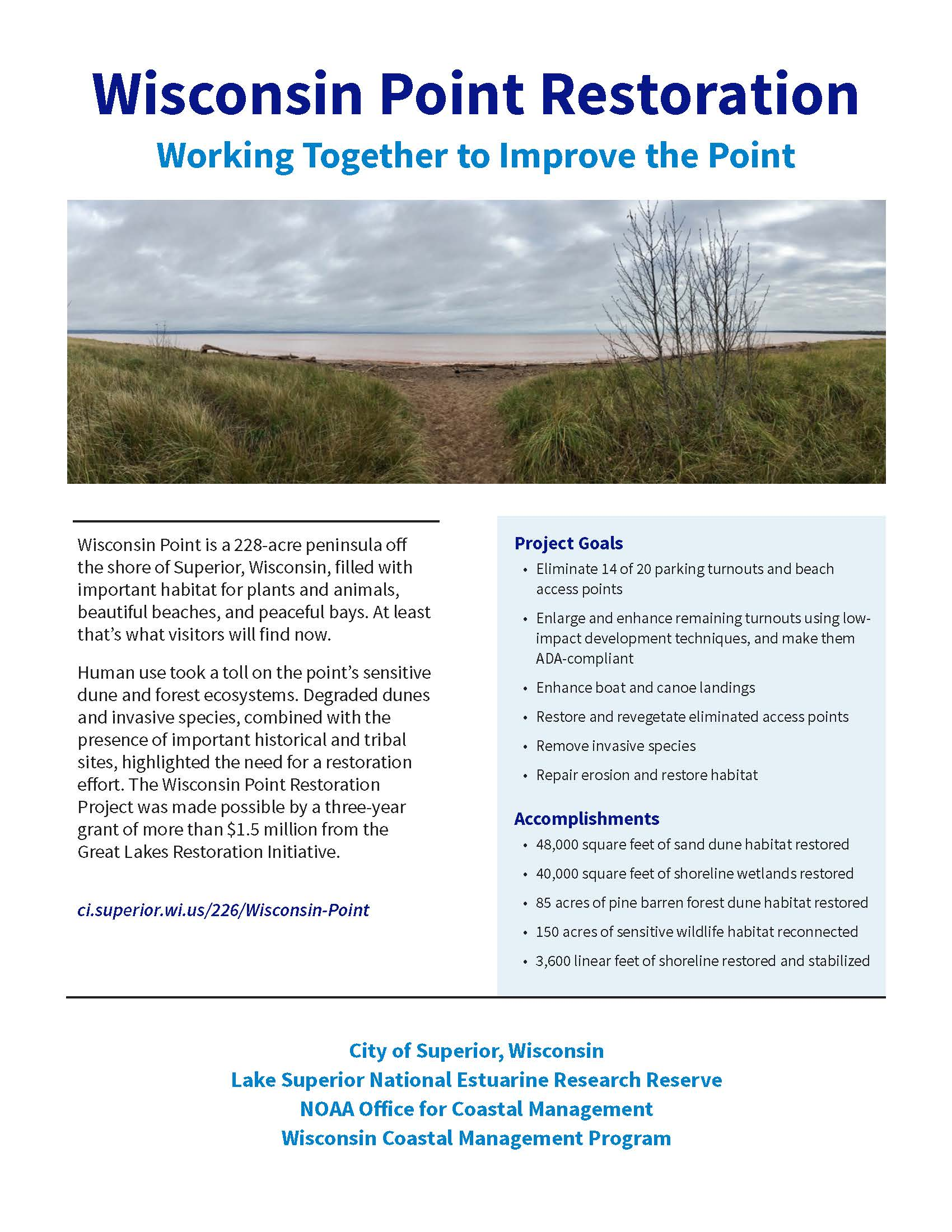 Information sheet describing the work completed as part of the Wisconsin Point Restoration and acces