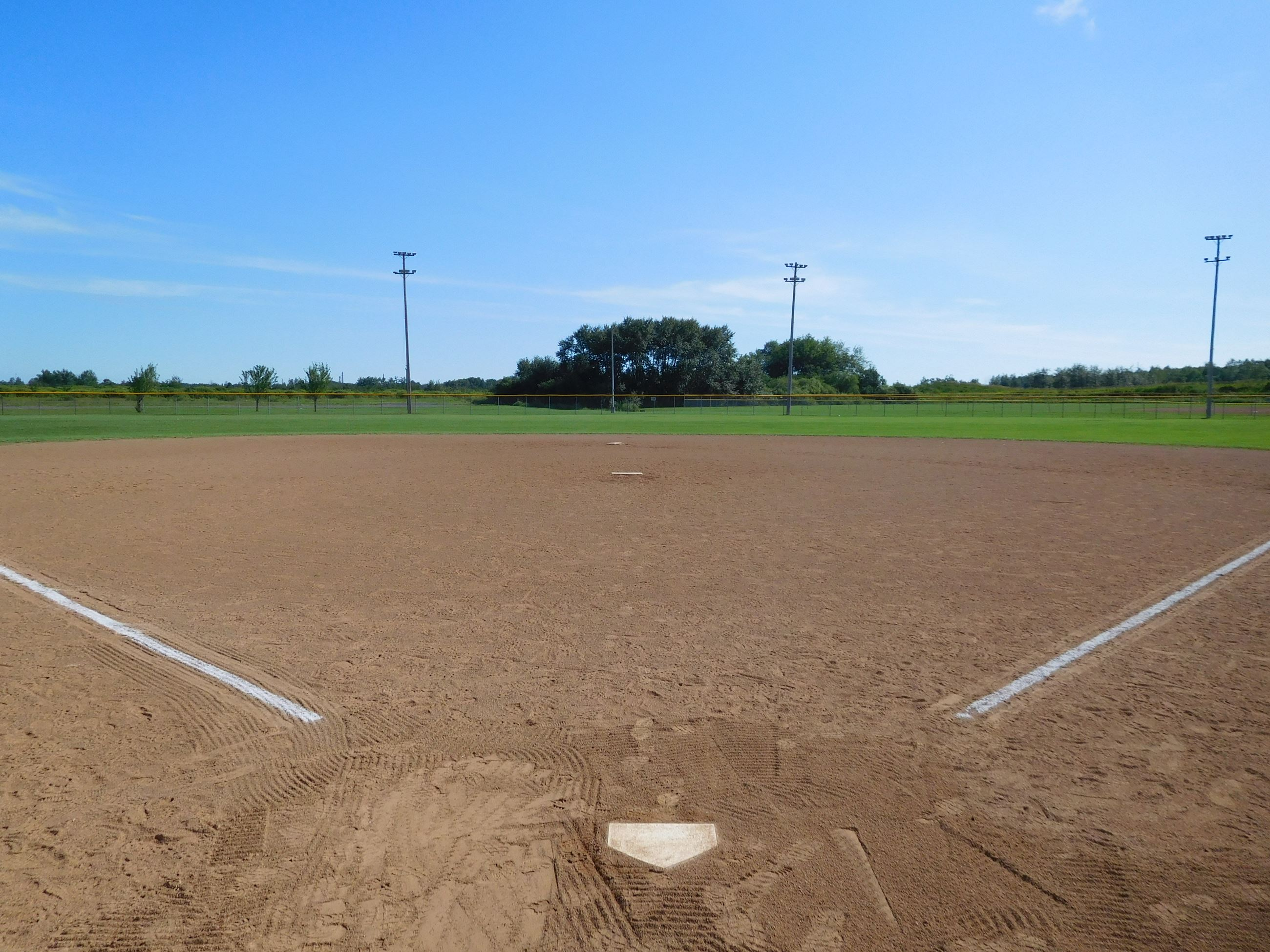 North 58th Street Ballfields sand field white chalk lines