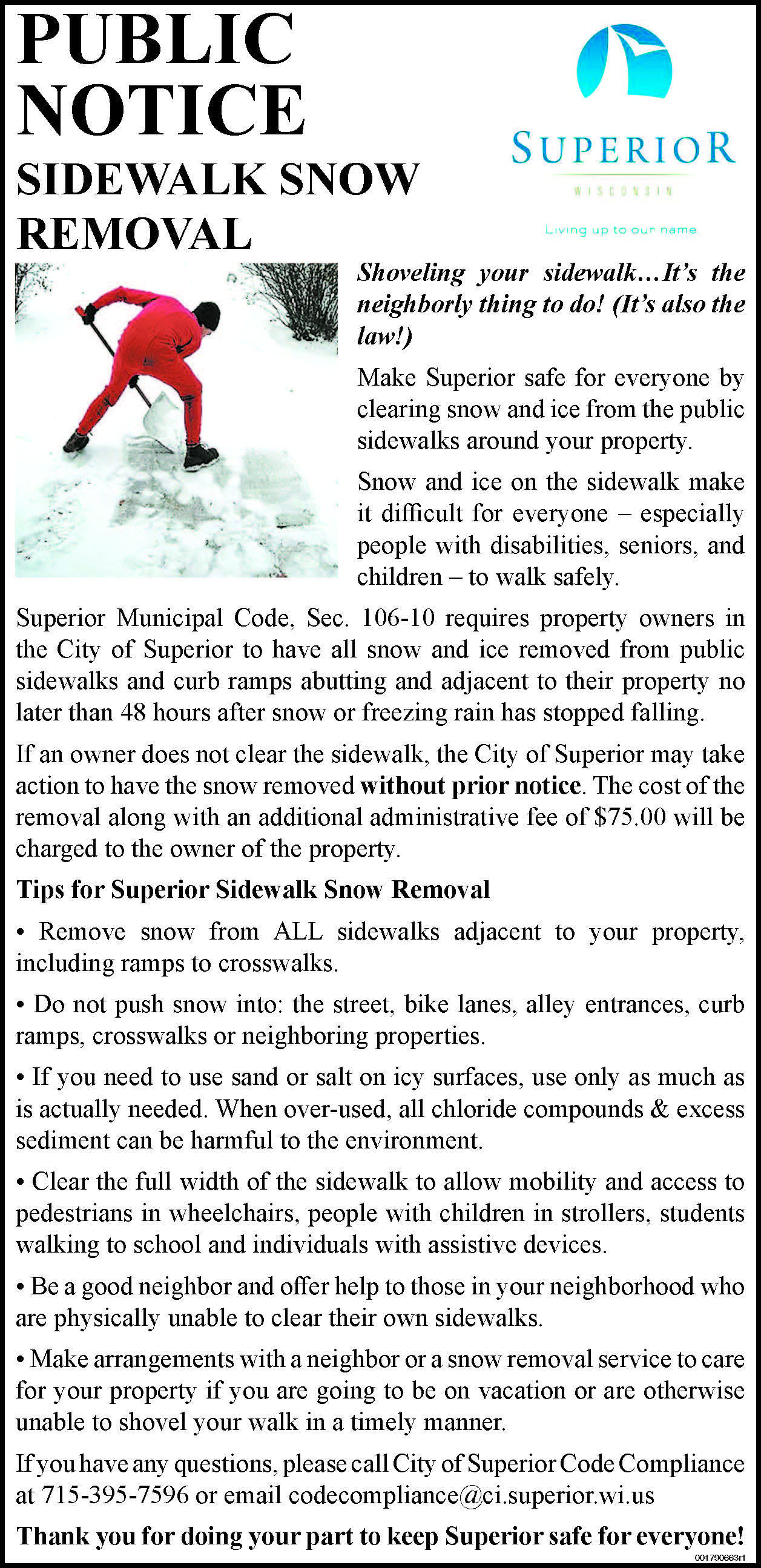 Public Notice regarding snow shoveling that describes how shoveling must be done.