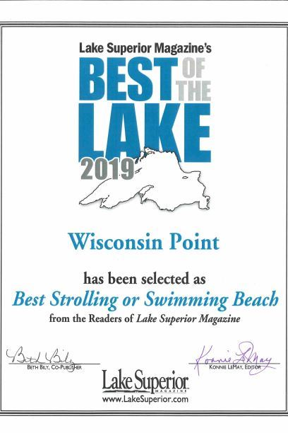 photo of award showing that Lake Superior Magazine named Wisconsin Point beach best strolling or swi